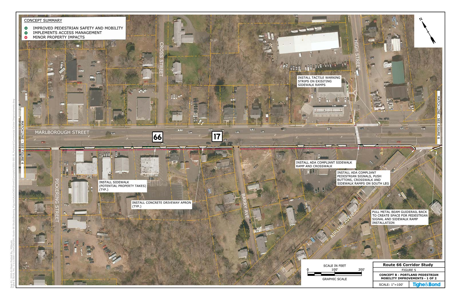 Route 66 Pedestrian Mobility Improvements (Concept B). Route 66 Transportation Study, Portland and East Hampton, CT.