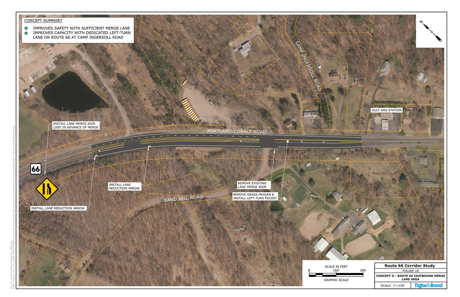 Route 66 Eastbound Merge Lane Area Safety Improvements (Concept D). Route 66 Transportation Study, Portland and East Hampton, CT.