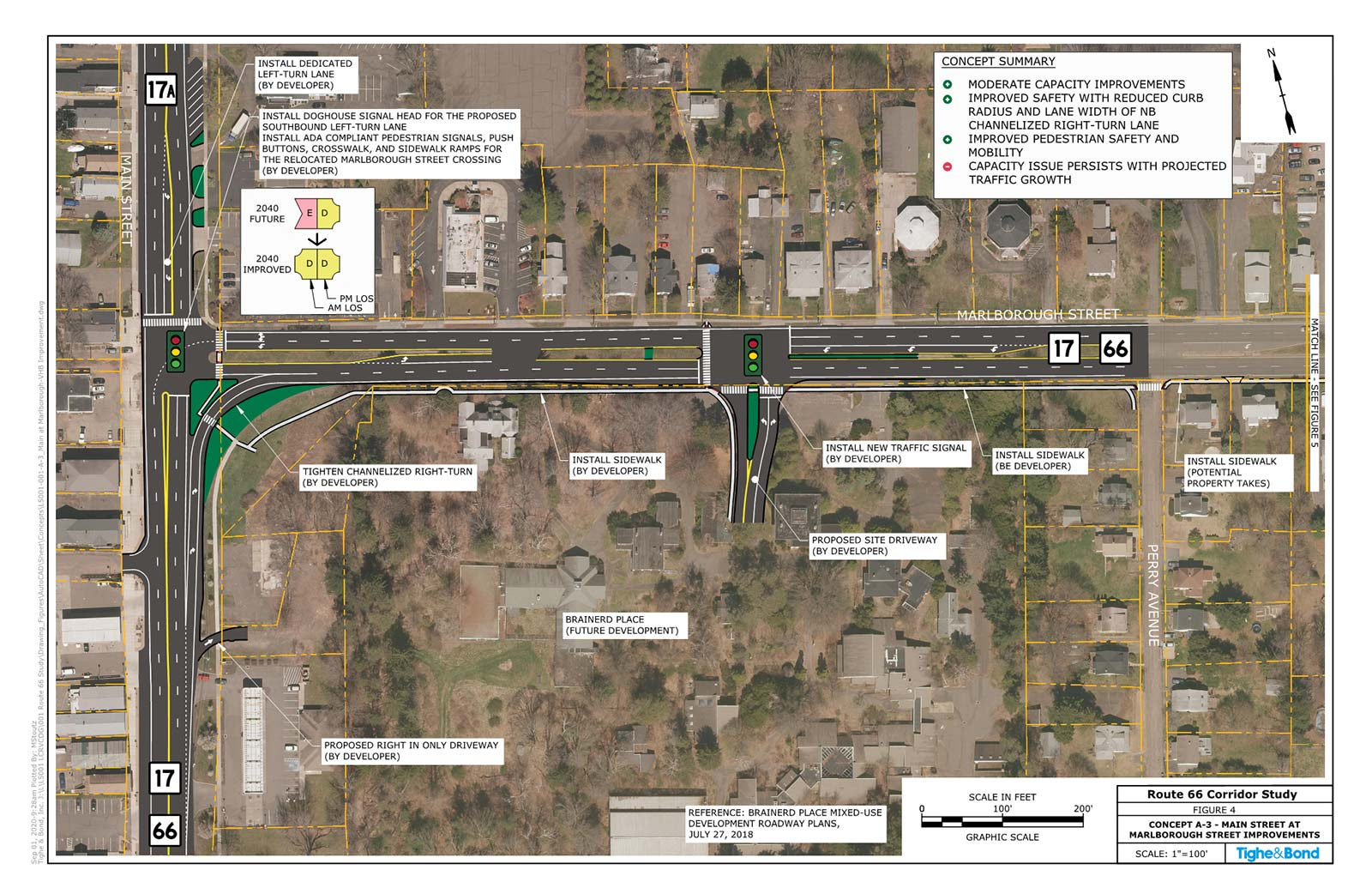 Marlborough Street at Main Street Intersection Improvements (Concept A-3). Route 66 Transportation Study, Portland and East Hampton, CT.