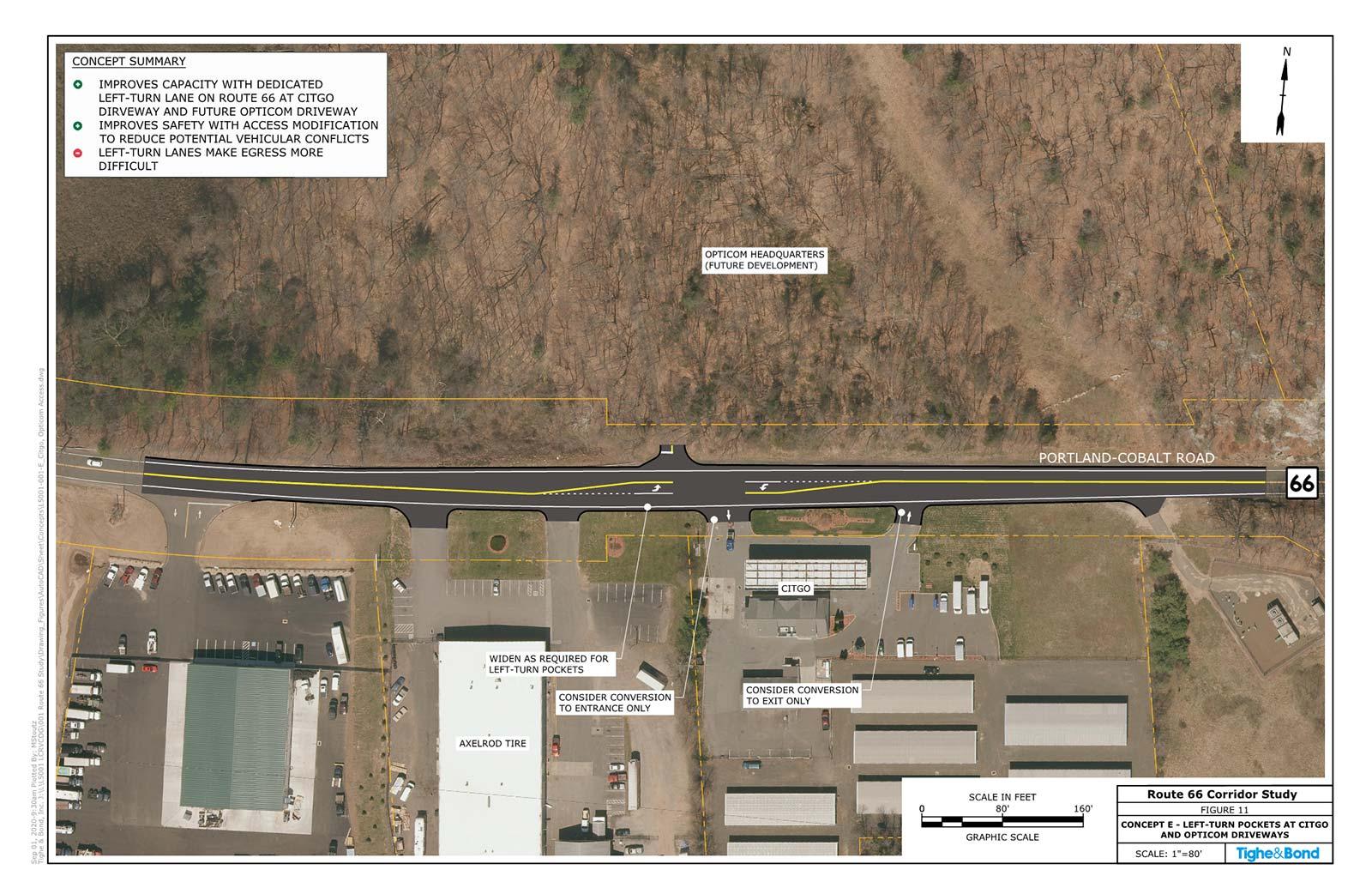 Route 66 at Portland Citgo and Opticom Driveways Operational Improvements (Concept E). Route 66 Transportation Study, Portland and East Hampton, CT.