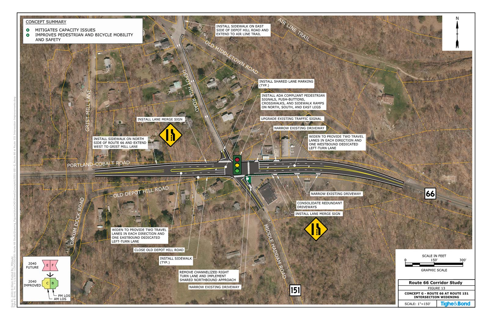 Route 66 at Route 151 and Depot Hill Road Intersection Improvements (Concept G). Route 66 Transportation Study, Portland and East Hampton, CT.
