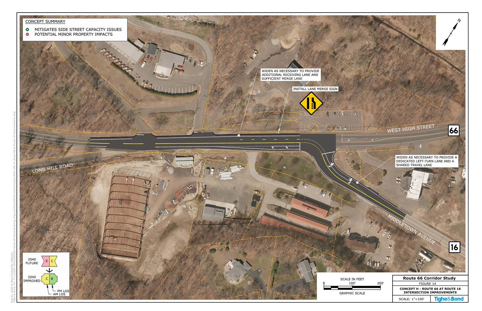 Route 66 at Route 16 and Park & Ride Driveway Intersection Improvements (Concept H). Route 66 Transportation Study, Portland and East Hampton, CT.