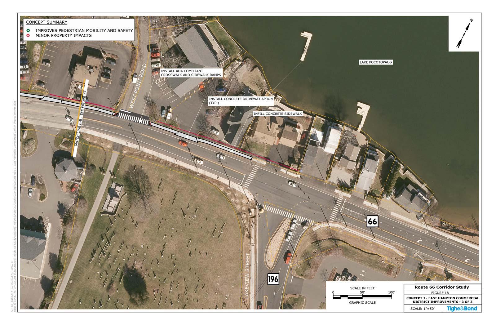 Route 66 at East Hampton Commercial District Improvements (Concept J). Route 66 Transportation Study, Portland and East Hampton, CT.