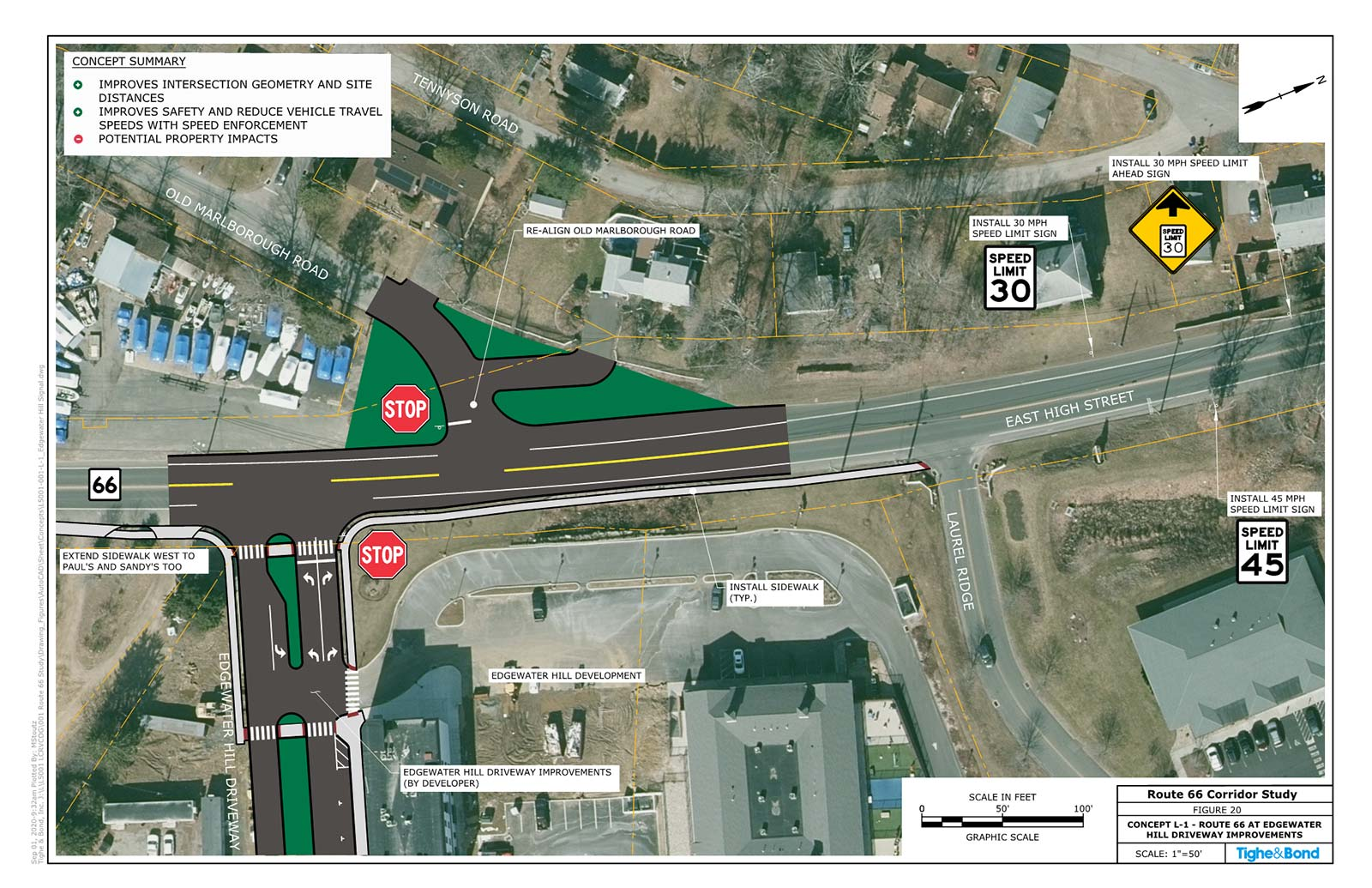 Route 66 at Edgewater Hill Driveway Intersection Improvements (Concept L-1). Route 66 Transportation Study, Portland and East Hampton, CT.