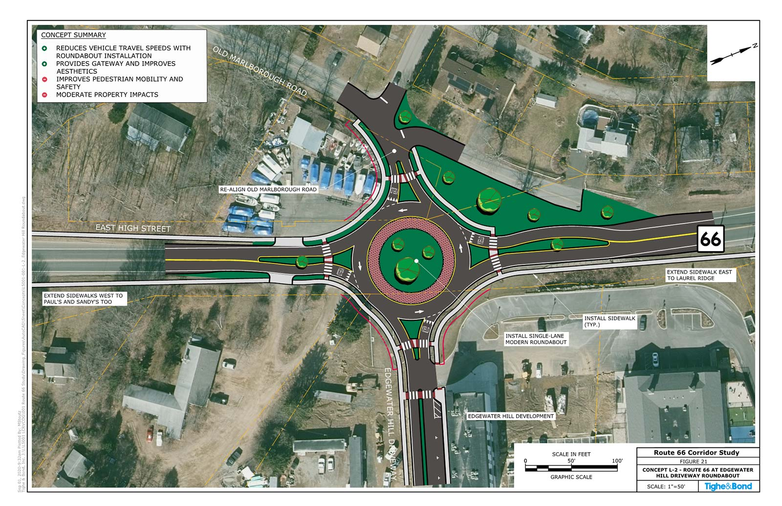 Route 66 at Edgewater Hill Driveway Modern Roundabout (Concept L-2). Route 66 Transportation Study, Portland and East Hampton, CT.
