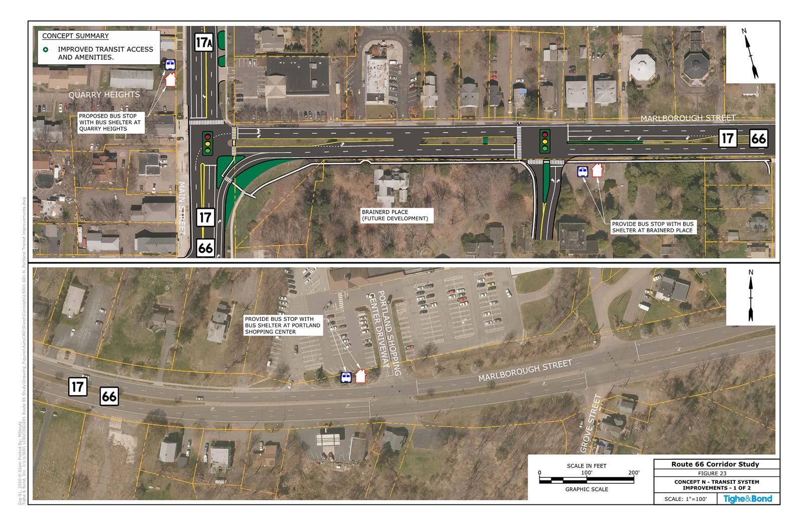 Transit Improvements (Concept N). Route 66 Transportation Study, Portland and East Hampton, CT.