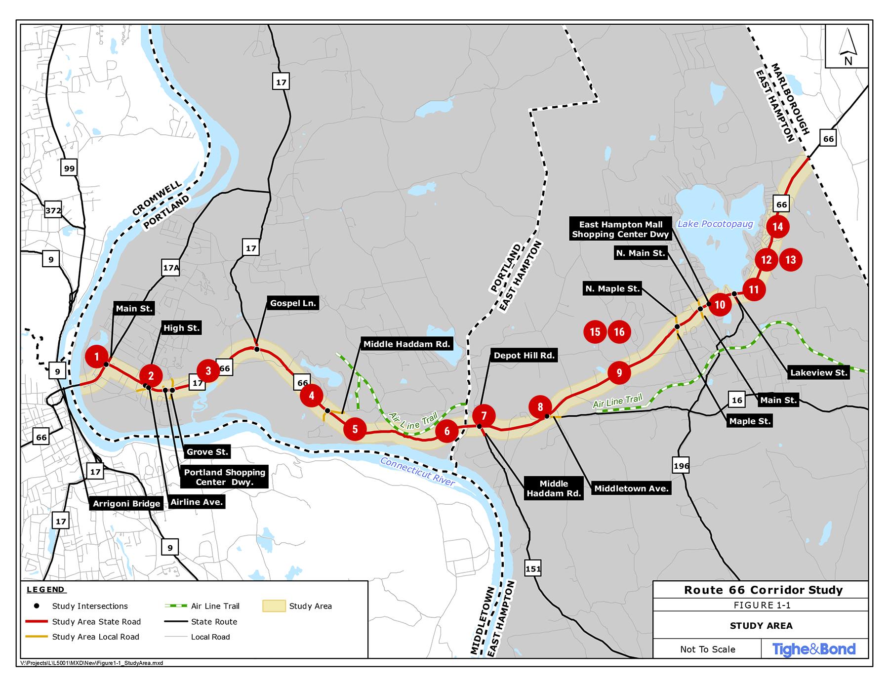 Route 66 Transportation Study, Portland and East Hampton, CT.